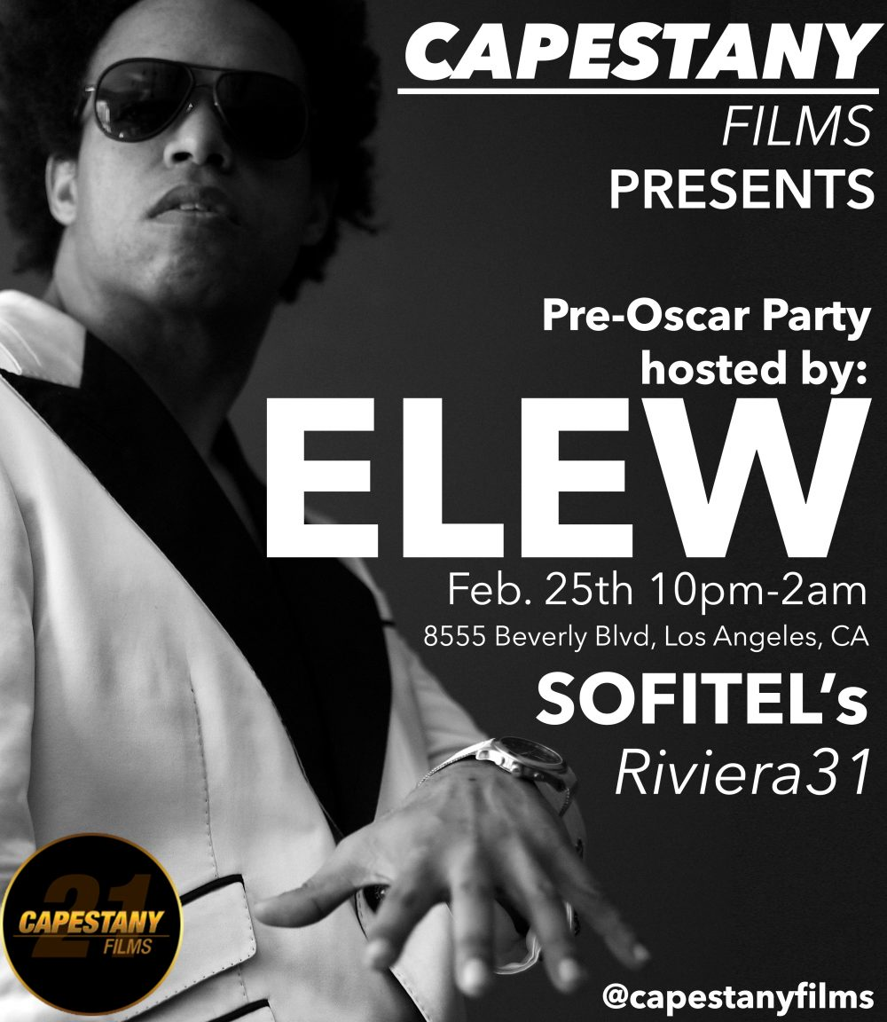 "Capestany Films  PRESENTS   Pre-Oscar Party @Sofitel's Riviera31 Hosted By: ELEW  Scott A. Capestany- Editor-In-Chief for Media Inc Magazine and CEO of Capestany Films is proud to sponsor this high profile pre-Oscar party hosted by ""Obama-approved"" pianist, DJ, screenwriter"